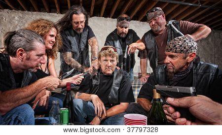 Frowing Gang Member Held Up