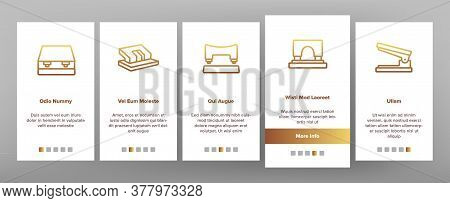 Hole Puncher Tool Onboarding Mobile App Page Screen Vector. Hole Puncher Stationery Equipment, Offic