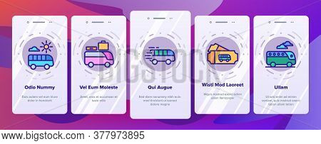 Bus Trip And Travel Onboarding Mobile App Page Screen Vector. Bus Trip Calendar Date And Ticket, Fas