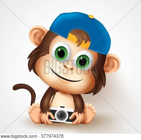 Cool Monkey Animal Character Vector Design. Cute Little Monkey Photographer In Friendly Facial Expre