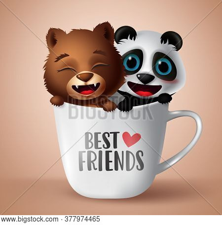 Best Friend Cute Bear And Panda Animal Characters Vector Design. Best Friends Text In White Mug Elem