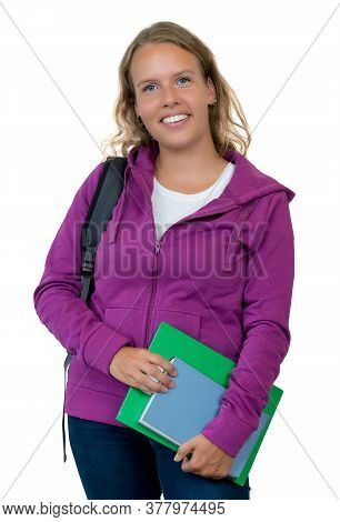 Laughing German Female Student With Blond Hair Isolated On White Background For Cut Out