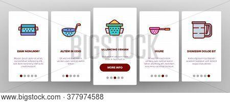 Sieve Kitchen Utensil Onboarding Mobile App Page Screen Vector. Sieve Colander Cuisine Equipment For