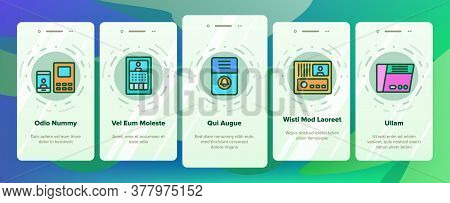 Intercom Communication Onboarding Mobile App Page Screen Vector. Intercom Electronic Protection Devi