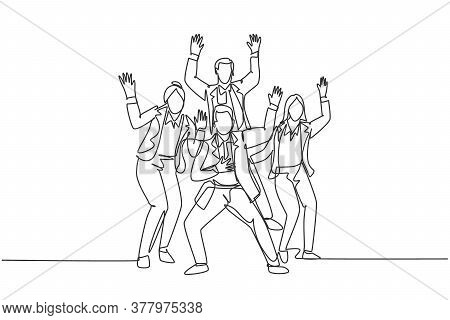 Single Continuous Line Drawing Of Young Happy Male And Female Trainer Prancing With Joy At The Semin