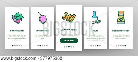 Hawthorn Berry Food Onboarding Mobile App Page Screen Vector. Hawthorn Syrup And Juice, Beverage And