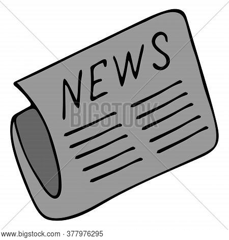 Newspaper With News. World News. Vector Illustration. Isolated White Background. Cartoon Style. Cove