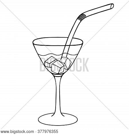 Martini With Ice Cubes. Sketch. Vector Stock Illustration. Outline On An Isolated White Background.