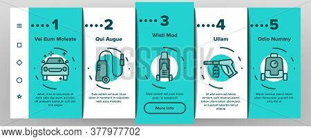 Pressure Washer Tool Onboarding Mobile App Page Screen Vector. Pressure Washer Equipment For Wash Ca