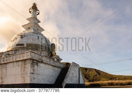 Abandoned Mysterius Buddhist Temple Dome With Golden Buddha Statue Near Old Sensuikyo Ropeway To Mou