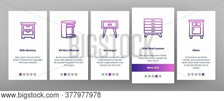 Nightstand Furniture Onboarding Mobile App Page Screen Vector. Nightstand Vintage And Modern Design,
