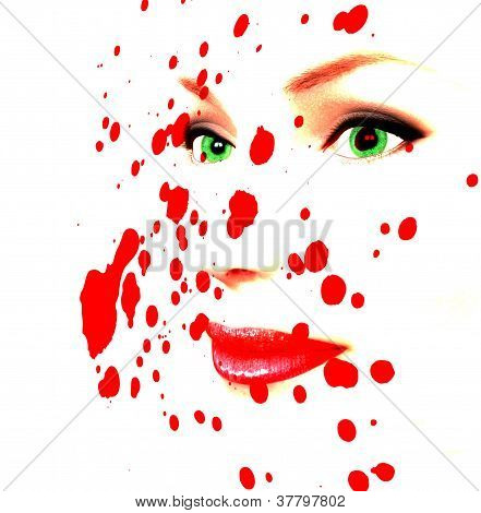 Pale female face covered in human blood. poster