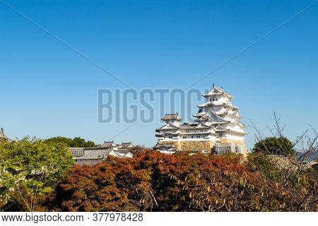 Himeji, Japan, 06/11/19. View Of White, Spactacular Himeji Castle On A Hill With Red And Oragne Autu