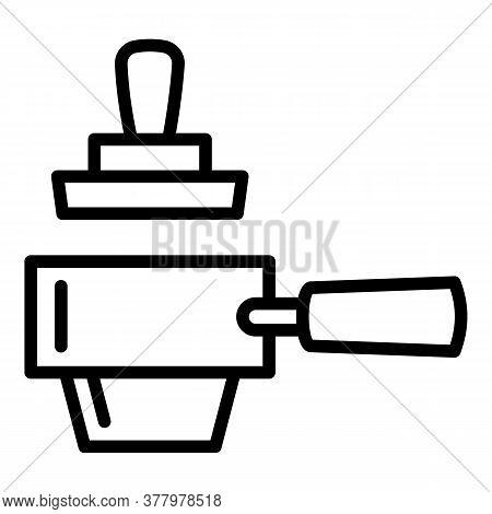 Steel Portafilter Icon. Outline Steel Portafilter Vector Icon For Web Design Isolated On White Backg