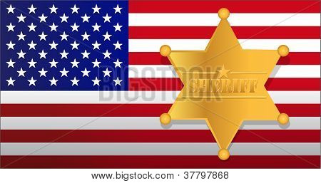 Sheriff Star And Us Flag Illustration