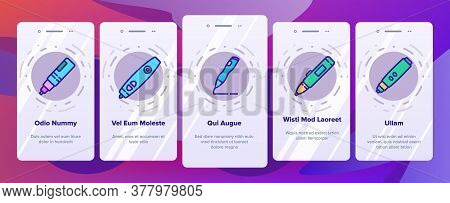 3d Pen Printing Gadget Onboarding Mobile App Page Screen Vector. 3d Pen Engineering Electronic Stati