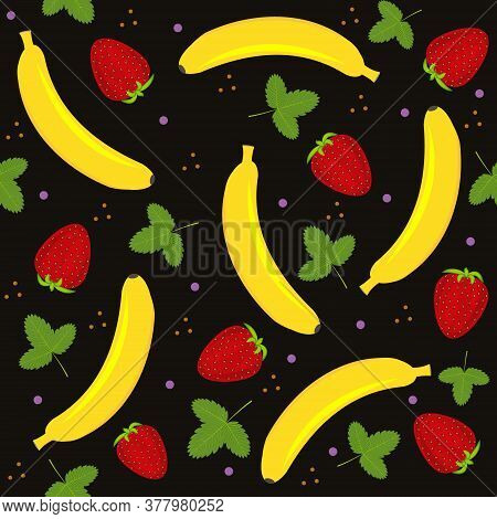 Fruit Pattern With The Image Of A Banana, Strawberry And Strawberry Leaves, Vector, Background Black