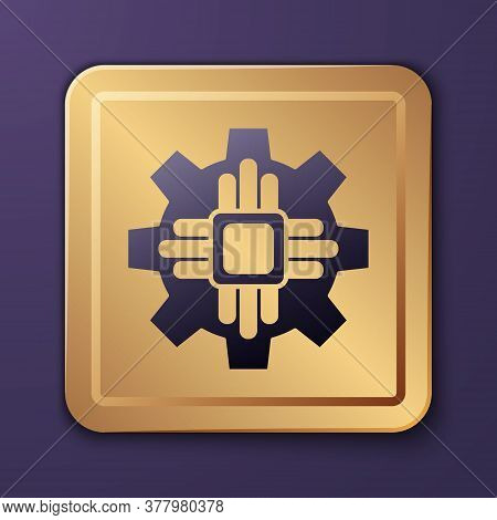 Purple Processor Icon Isolated On Purple Background. Cpu, Central Processing Unit, Microchip, Microc