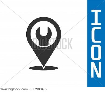 Grey Location With Wrench Spanner Icon Isolated On White Background. Adjusting, Service, Setting, Ma