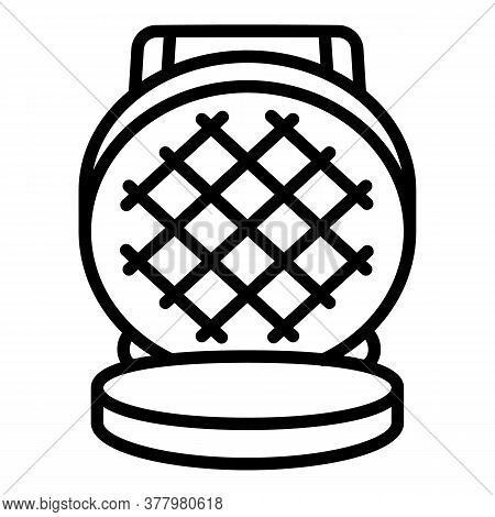 Round Waffle-iron Icon. Outline Round Waffle-iron Vector Icon For Web Design Isolated On White Backg