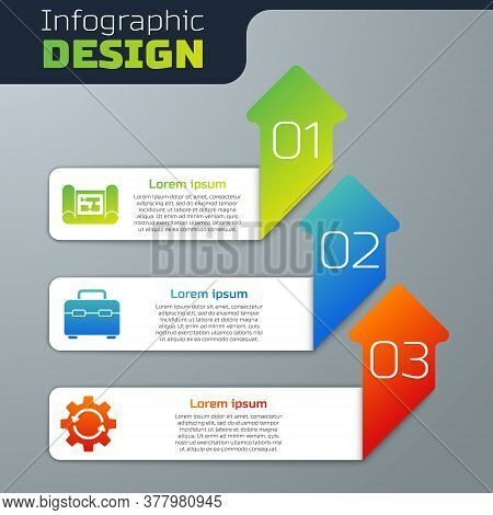 Set House Plan, Toolbox And Gear And Arrows As Workflow. Business Infographic Template. Vector