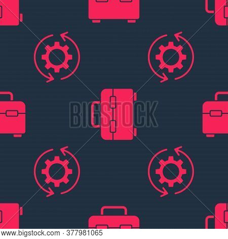 Set Gear And Arrows As Workflow And Toolbox On Seamless Pattern. Vector