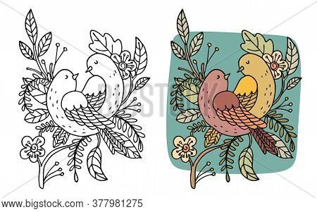 Vector Flower And Bird Background. Exotic Flat Colorful Birds Profile In Black Lines, Isolated On Wh