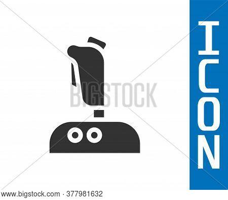 Grey Joystick For Arcade Machine Icon Isolated On White Background. Joystick Gamepad. Vector Illustr