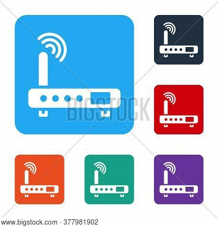 White Router And Wi-fi Signal Icon Isolated On White Background. Wireless Ethernet Modem Router. Com