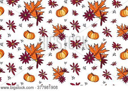 Autumn Season Vector Seamless Pattern With Hand Drawn Pumpkin, Flowers, Leaves. Hand Drawn Repeated