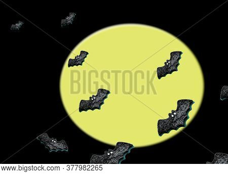 Set Of Black Bats Isolated On Black With Yellow Moon Color Background. Flat Lay.copy Space For Your