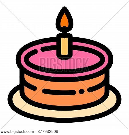 One Candle Cake Icon. Outline One Candle Cake Vector Icon For Web Design Isolated On White Backgroun