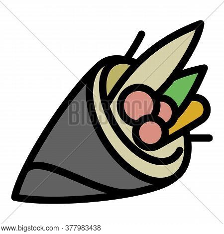 Vegan Sushi Roll Icon. Outline Vegan Sushi Roll Vector Icon For Web Design Isolated On White Backgro
