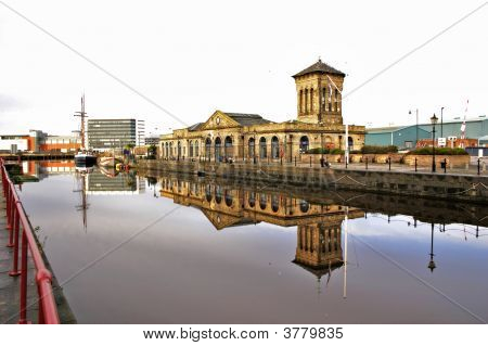 Reflections In Water At Leith Docks, Edinburgh, Scotland