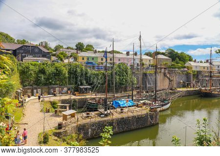 Charlestown, Cornwall / Uk - July 07, 2020: View Of The Historical Port With Old Sailing Ships Used