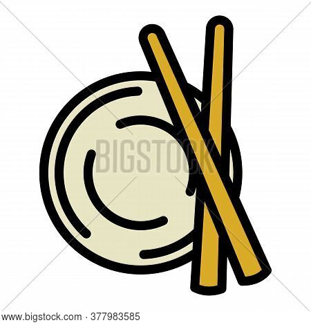 Sushi Bowl Sticks Icon. Outline Sushi Bowl Sticks Vector Icon For Web Design Isolated On White Backg