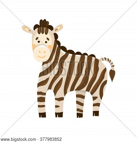 Vector Illustration Of A Cute Zebra In Cartoon Hand Drawn Flat Style. Kind Striped Herbivore From Sa
