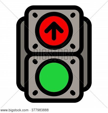 Pedestrian Traffic Lights Icon. Outline Pedestrian Traffic Lights Vector Icon For Web Design Isolate