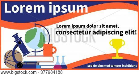 Tutoring Banner With Flat Images Of Sceintific And Educational Accessories Books Trophy And Editable