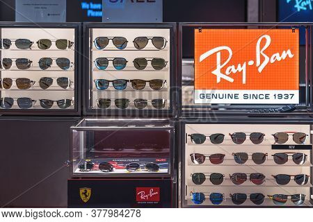 Bangkok, Thailand - June, 2020 : Ray Ban Icon Sign And Brand Shop In Iconsiam Department Store On Ju