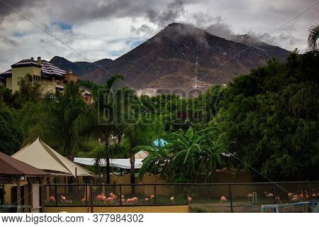 Spain, Europe: Mountain Hilltop Covered With Clouds In Malaga Located In Andalusia