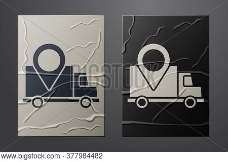 White Delivery Tracking Icon Isolated On Crumpled Paper Background. Parcel Tracking. Paper Art Style