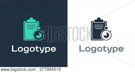 Logotype Verification Of Delivery List Clipboard Icon Isolated On White Background. Logo Design Temp