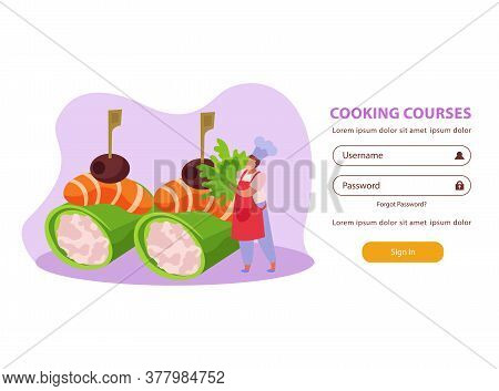 Professional Kitchen Flat Background Website Login Page With Dish Images And Fields For Username And