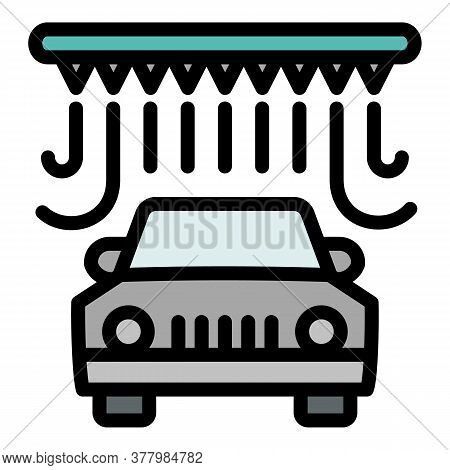 Station Car Wash Icon. Outline Station Car Wash Vector Icon For Web Design Isolated On White Backgro