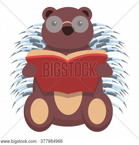 Porcupine Read Book Icon. Cartoon Of Porcupine Read Book Vector Icon For Web Design Isolated On Whit