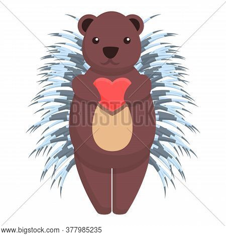 Porcupine Give Heart Icon. Cartoon Of Porcupine Give Heart Vector Icon For Web Design Isolated On Wh