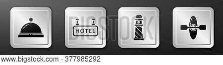 Set Hotel Service Bell, Signboard With Text Hotel, Lighthouse And Kayak Or Canoe Icon. Silver Square