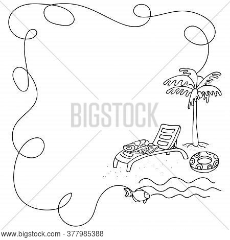 Curly Border Frame. Long Curved Line With Palm Tree, Swim Ring And Beach Bed. Square Social Media Fo