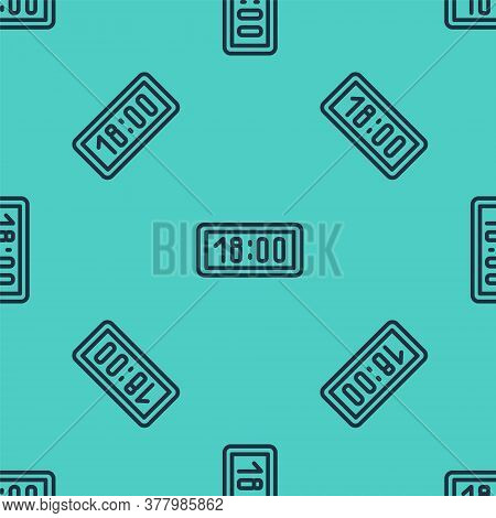 Black Line Digital Alarm Clock Icon Isolated Seamless Pattern On Green Background. Electronic Watch